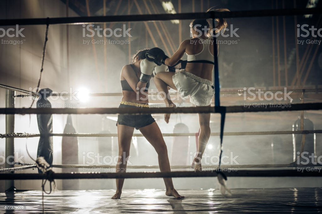 Female boxer attacking her opponent with jump knee kick. stock photo