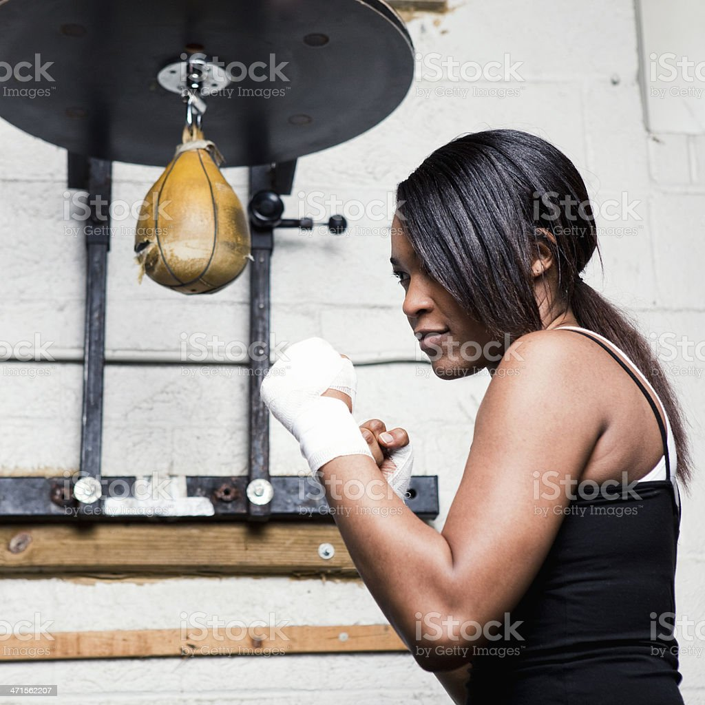 Female Boxer in Gym stock photo