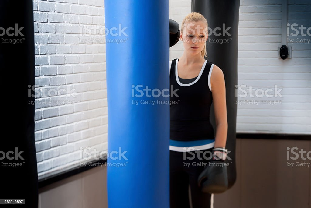 female boxer in gym stock photo