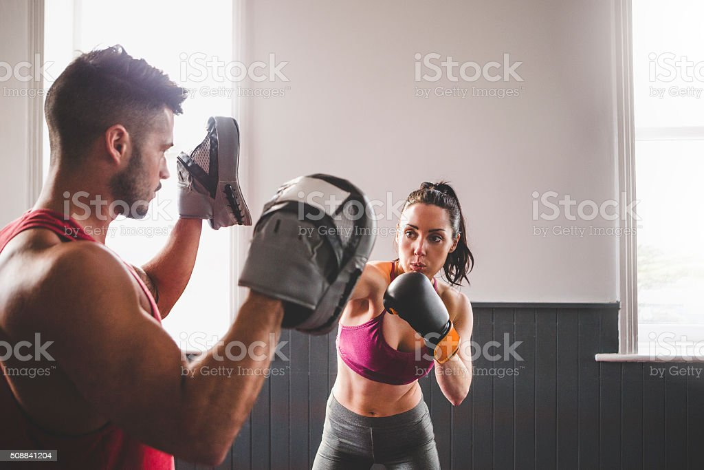Female Boxer in Training stock photo