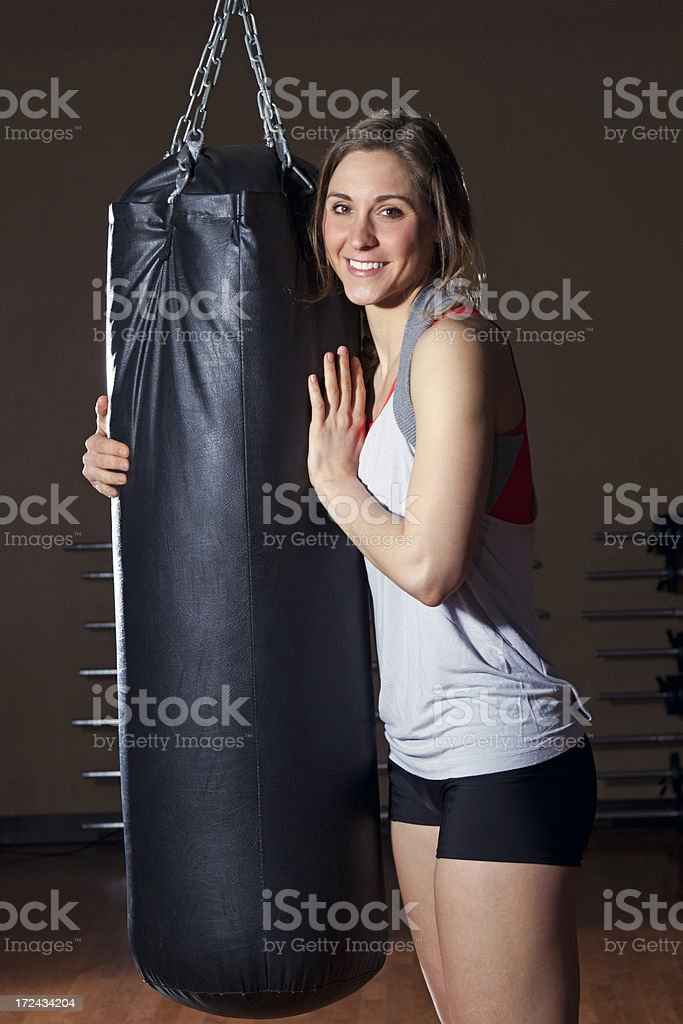 Female boxer - Love the bag royalty-free stock photo
