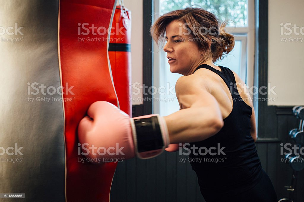 Female Boxer Training in the Gym stock photo