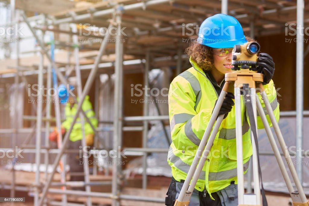 female building site stock photo