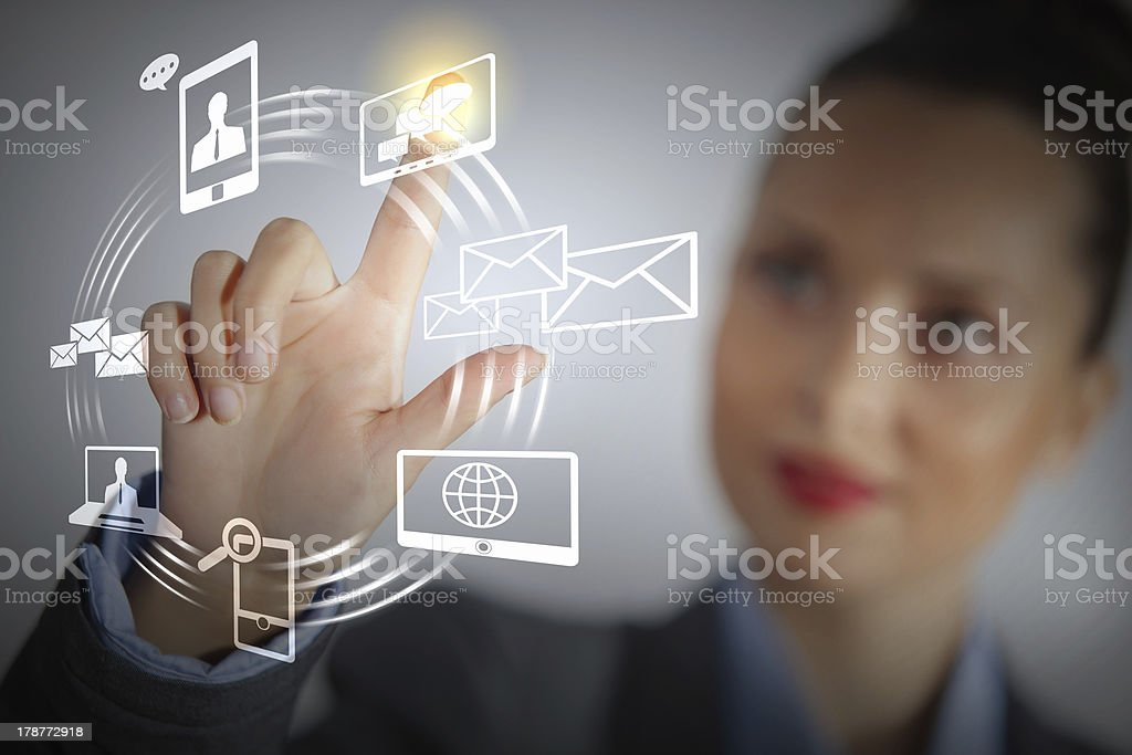 Female businesswoman using touch screen royalty-free stock photo