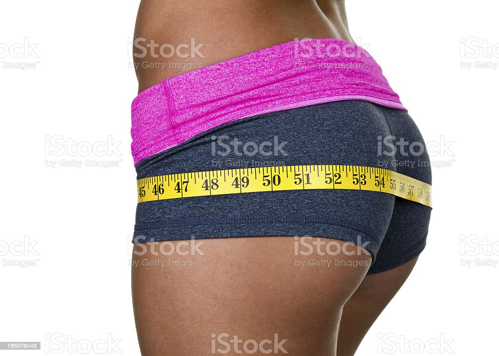 Female buttocks wearing workout clothing stock photo