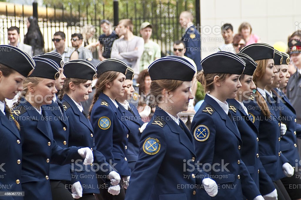Female cadets of Marine Academy on parade. stock photo