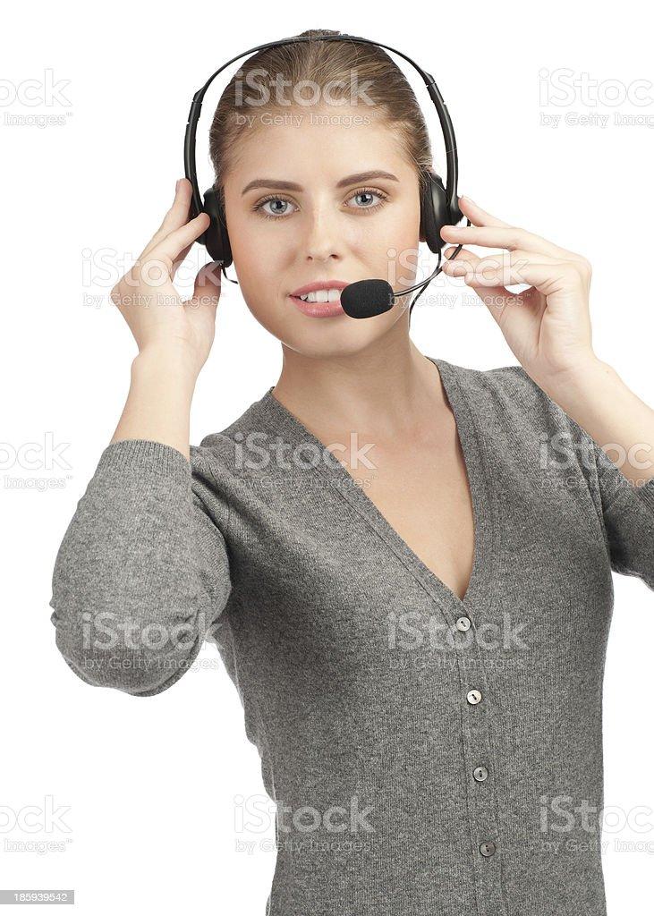 Female call center employee royalty-free stock photo