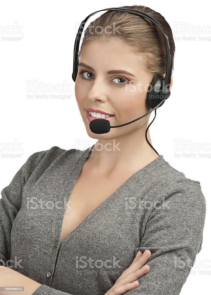 Female call center employee royalty-free stock photo