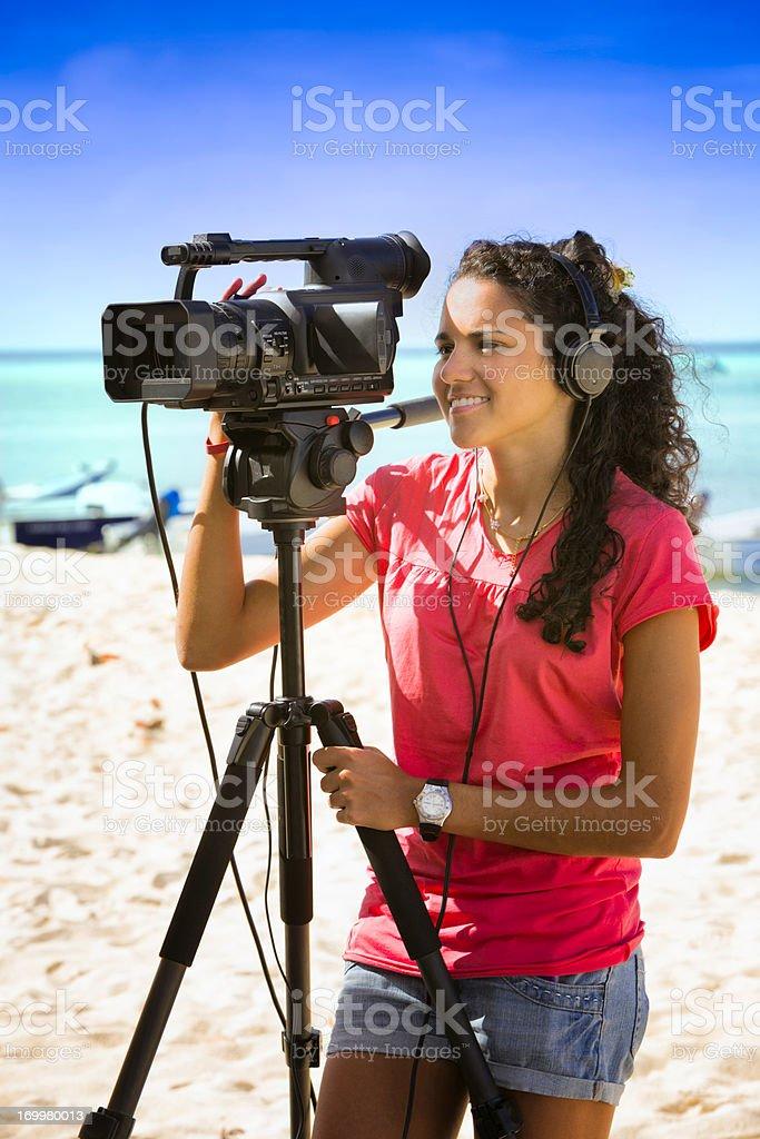Female camera operator stock photo