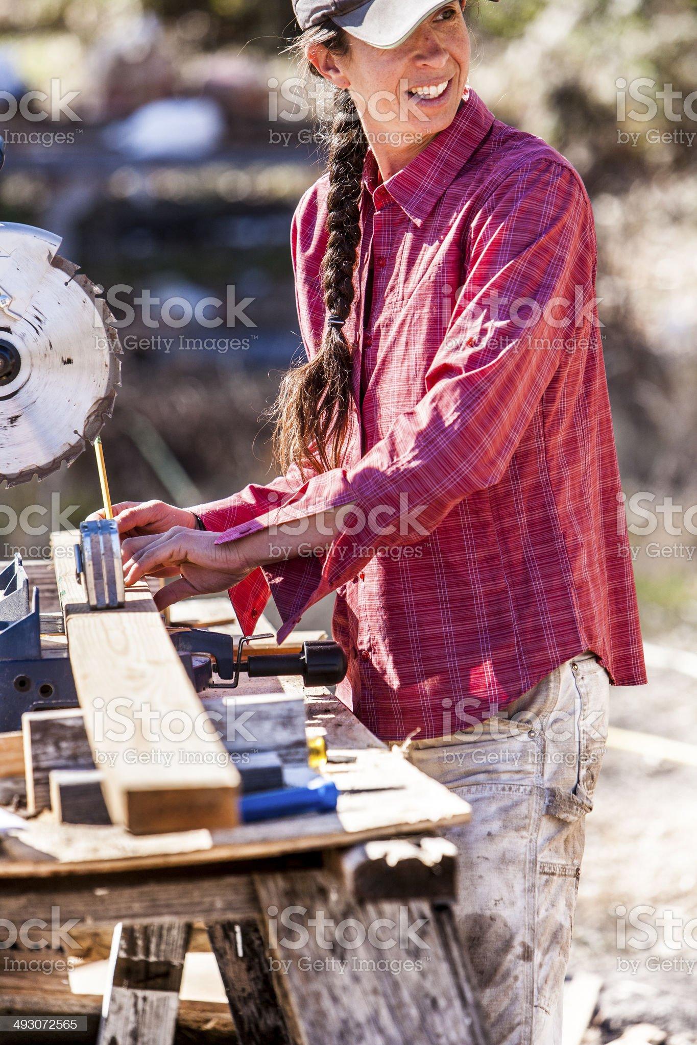 Female carpenter. royalty-free stock photo