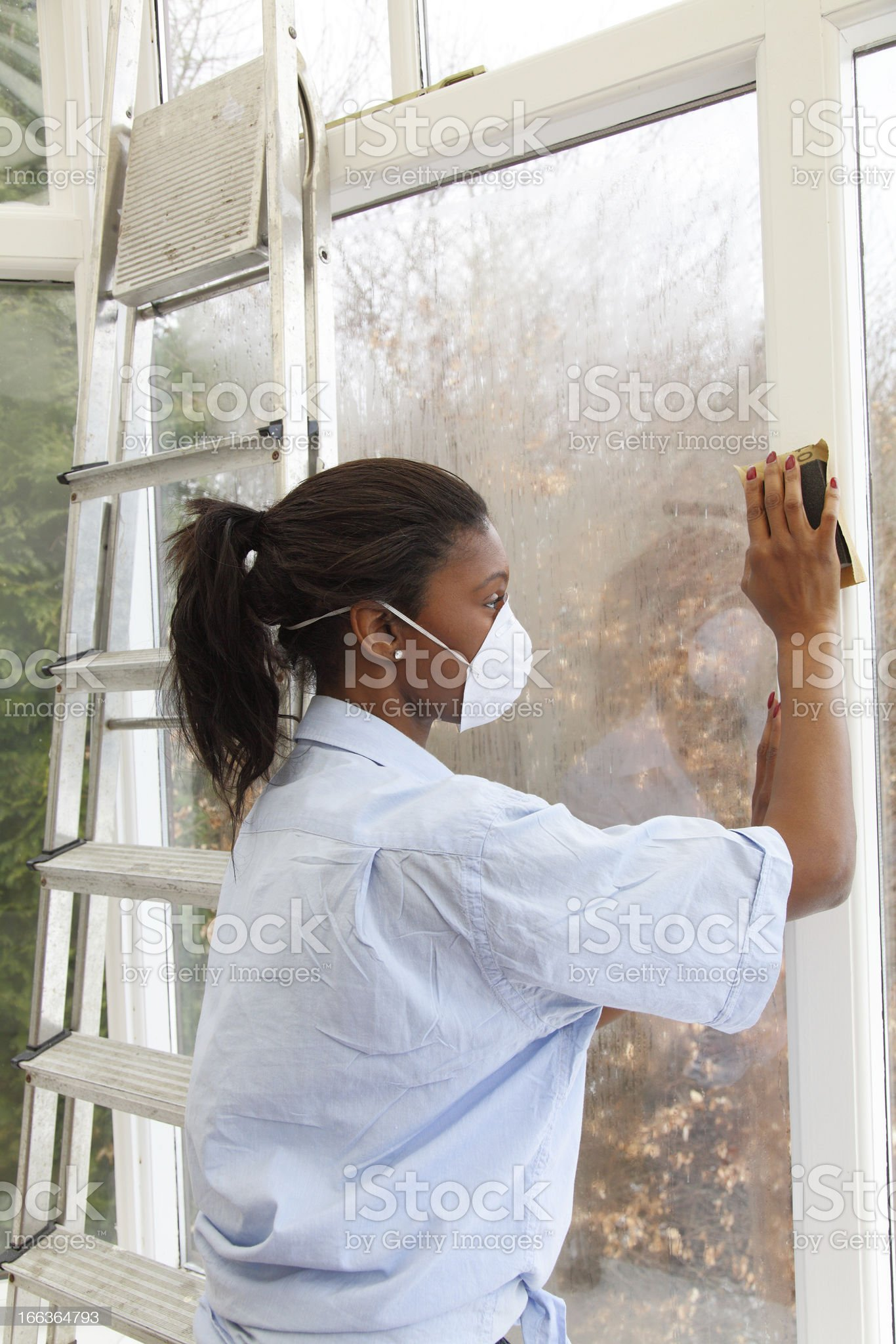 female carrying out some home improvements royalty-free stock photo