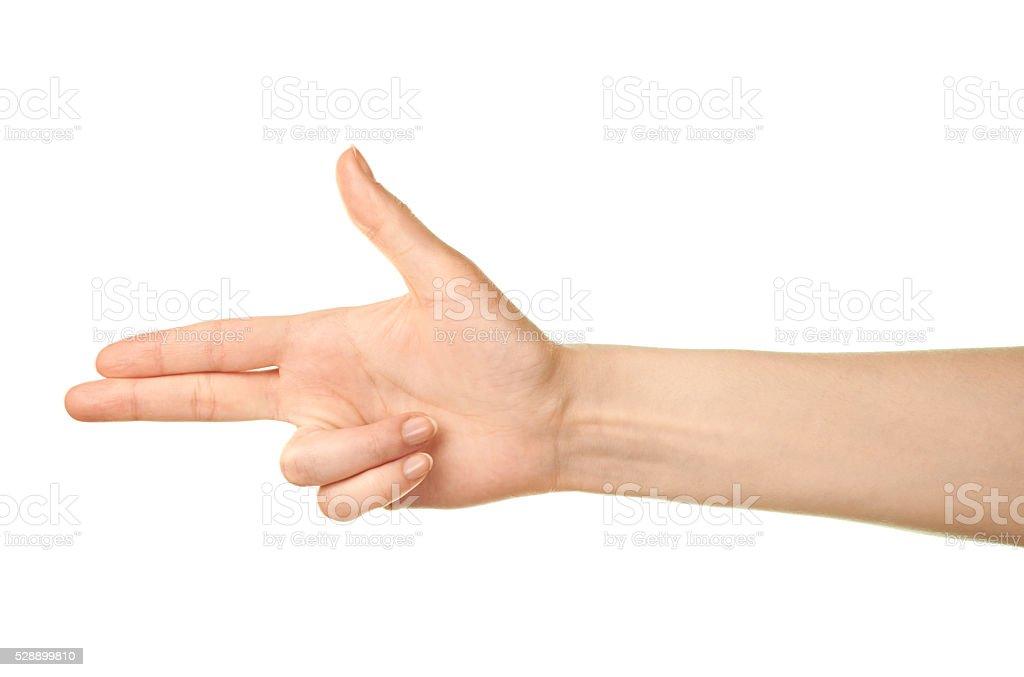 Female caucasian hand gesture isolated stock photo