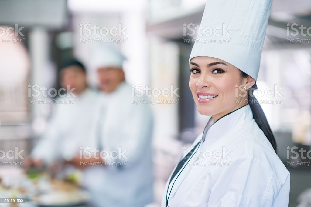 Female chef catering stock photo