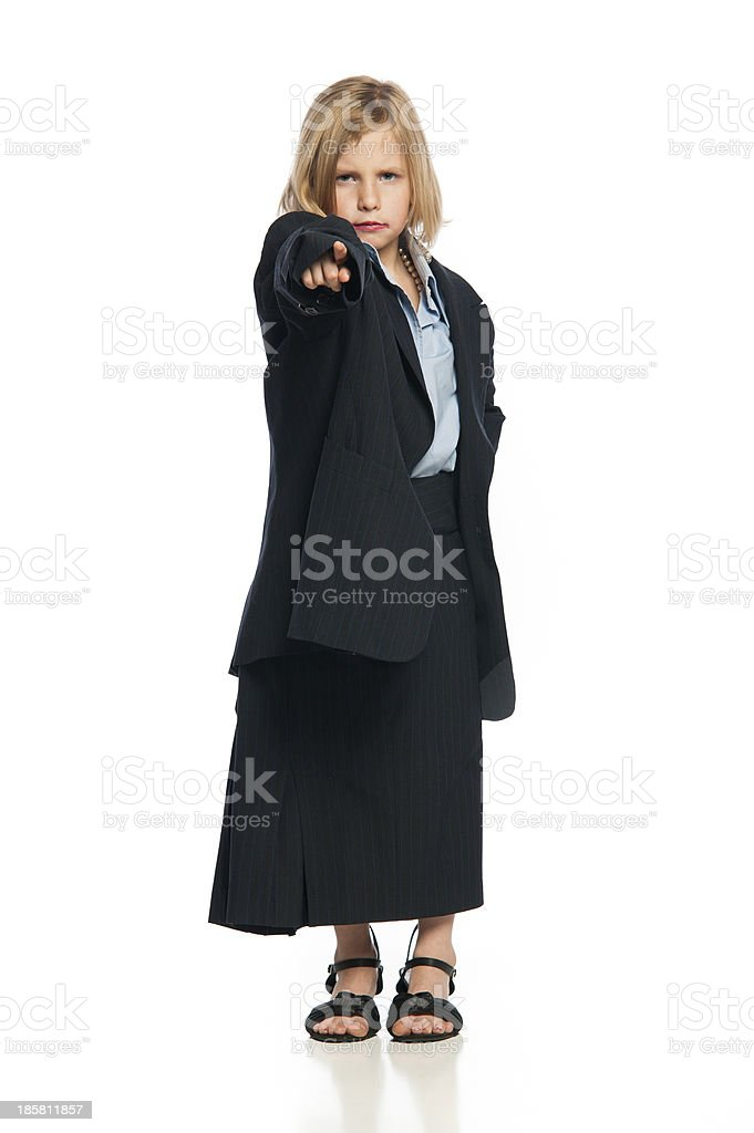 Female Child in Oversized Business Suit royalty-free stock photo