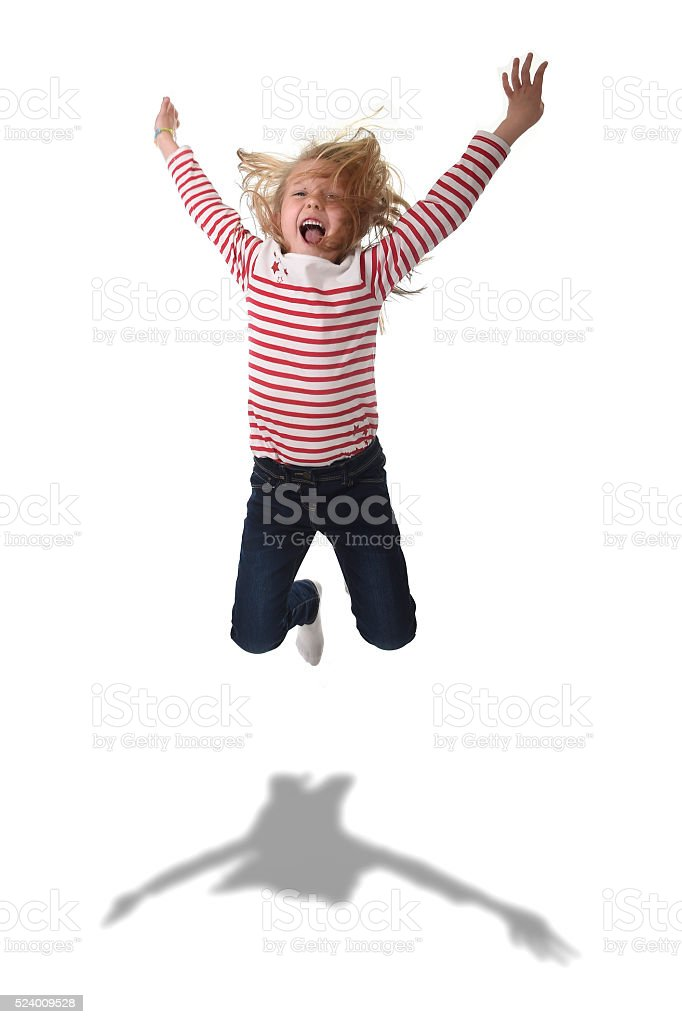 female child jumping happy crazy in body language education concept stock photo