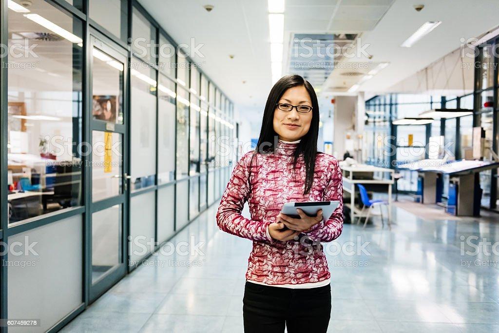 Female chinese engineer portrait stock photo