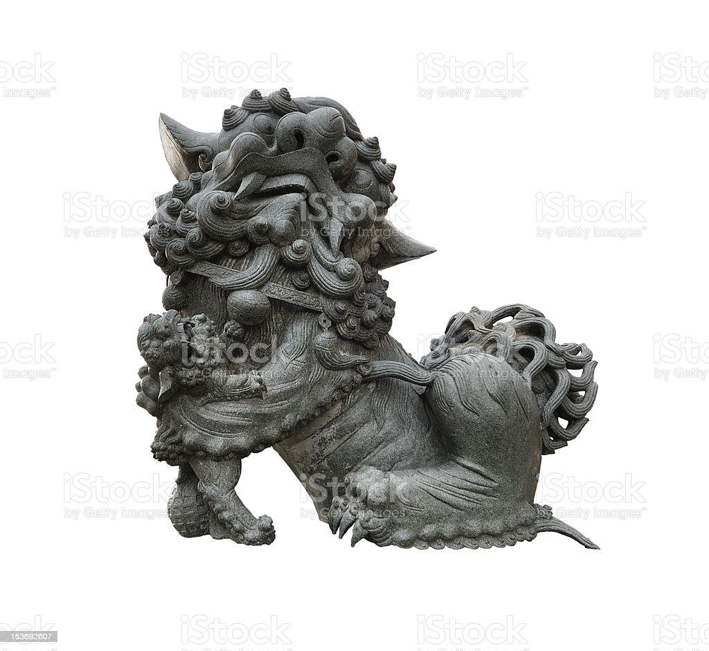 Female chinese stone lion statue royalty-free stock photo