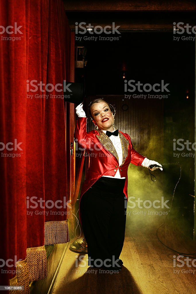 Female Circus Performer on Stage stock photo