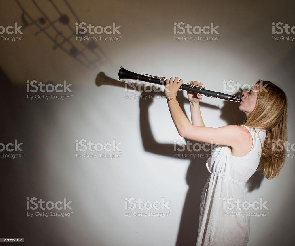 Female Clarinet Player stock photo