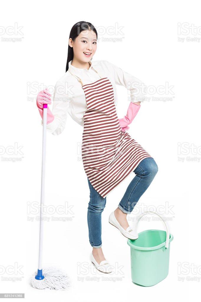 female cleaner stock photo
