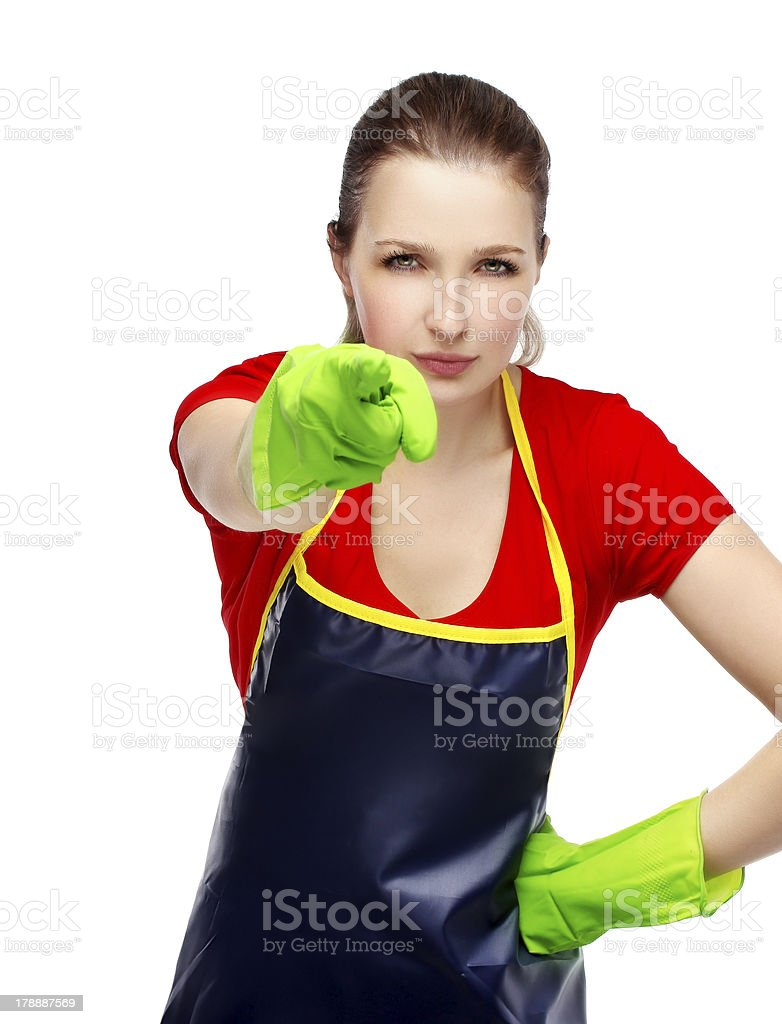 Female cleaner pointing fingers on you.Selective focus royalty-free stock photo