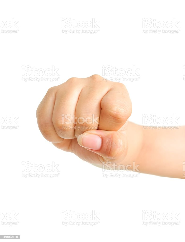 Female clench one's hand isolated stock photo