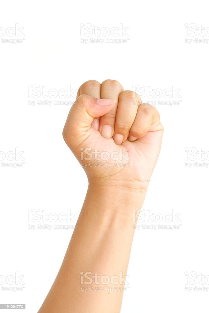 Female clench one's hand stock photo