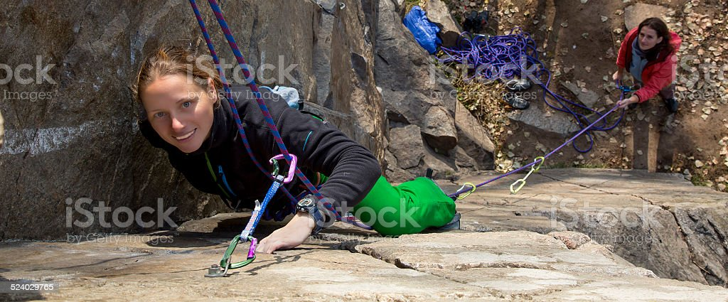 Female climbers stock photo
