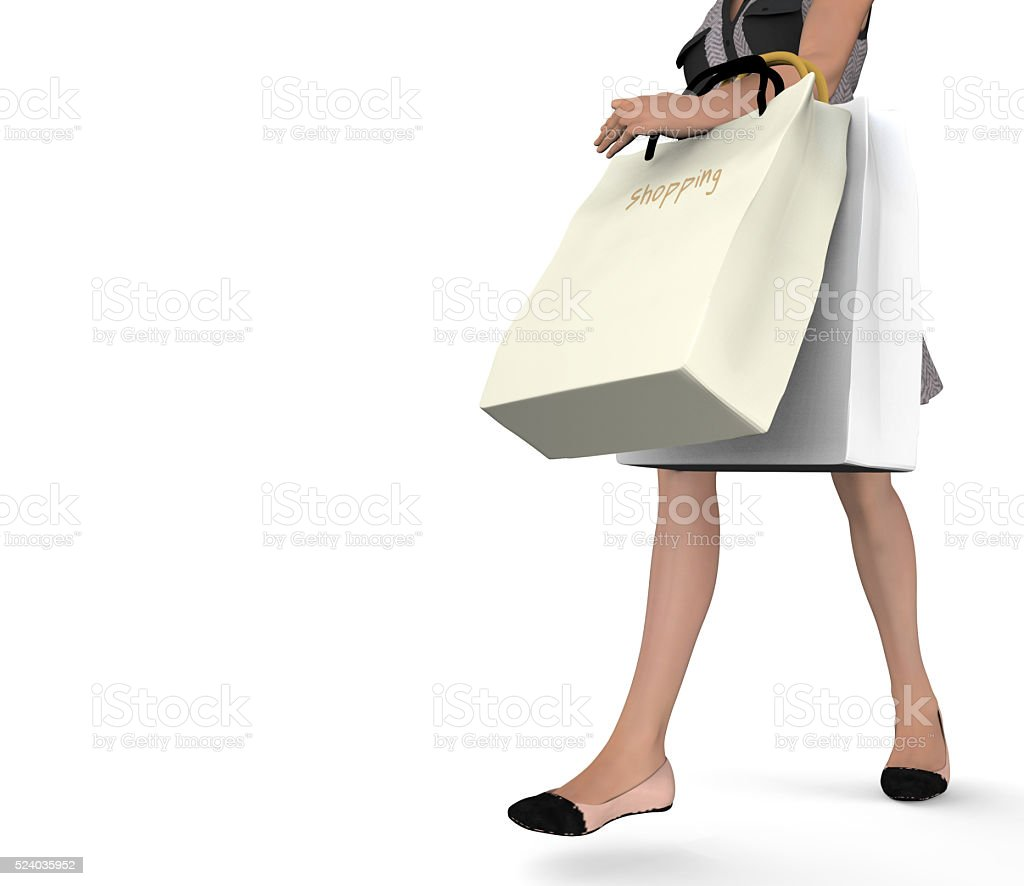 3D female close up with shopping bags stock photo