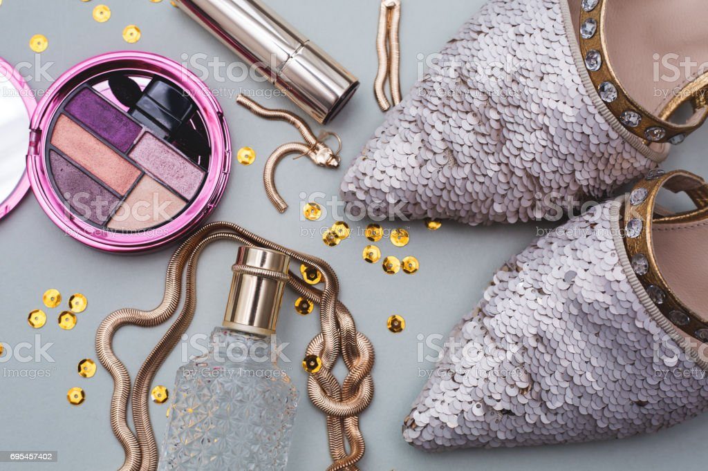 Female clothes and accessories stock photo