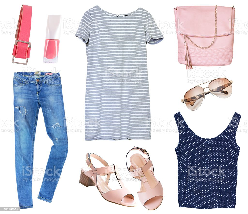 Female clothes set collage isolated on white. stock photo