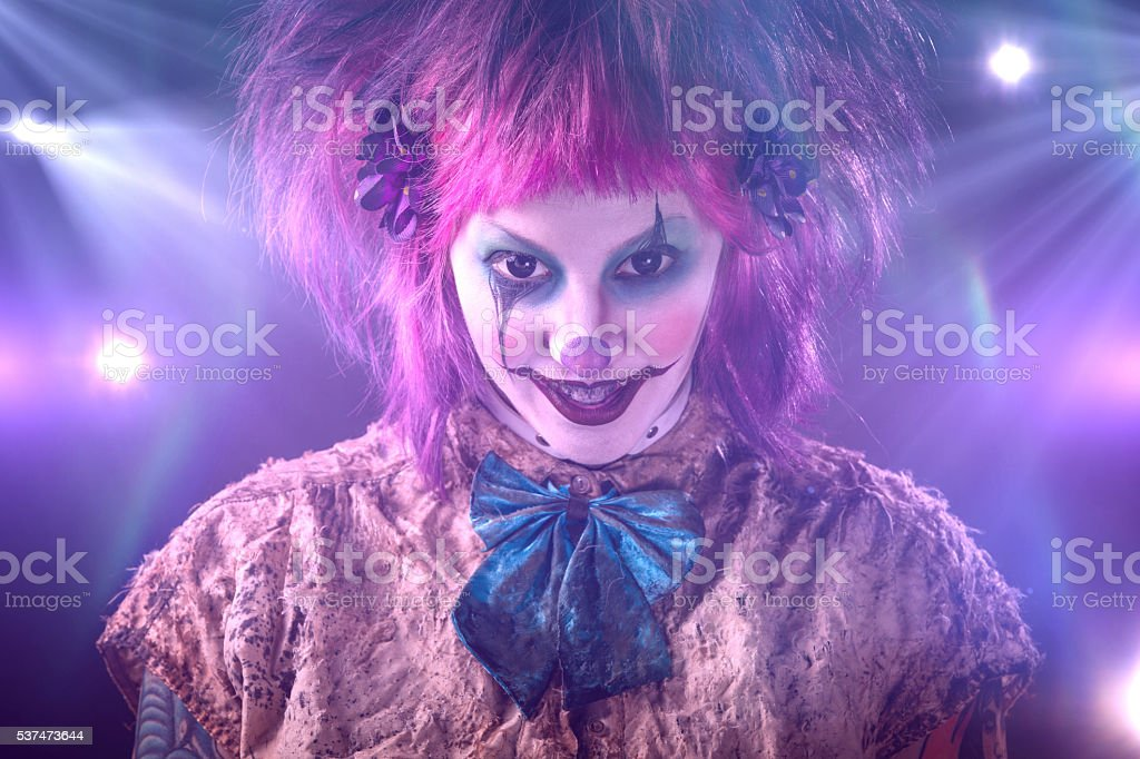 Female Clown looking at camera stock photo