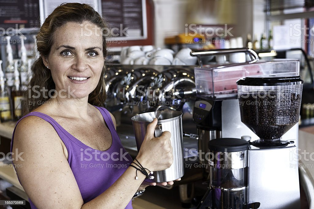 Female coffee shop owner royalty-free stock photo
