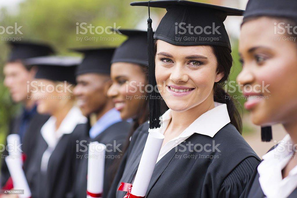 female college graduate at graduation stock photo