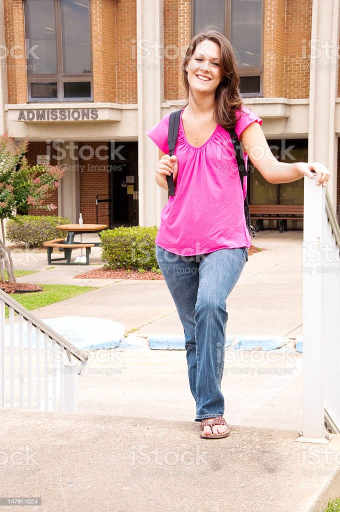 Female College Student at Admissions Office stock photo