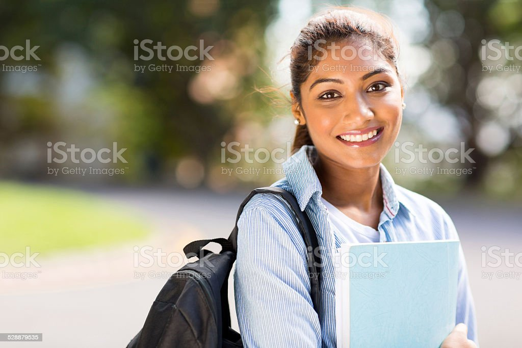 female college student on campus stock photo
