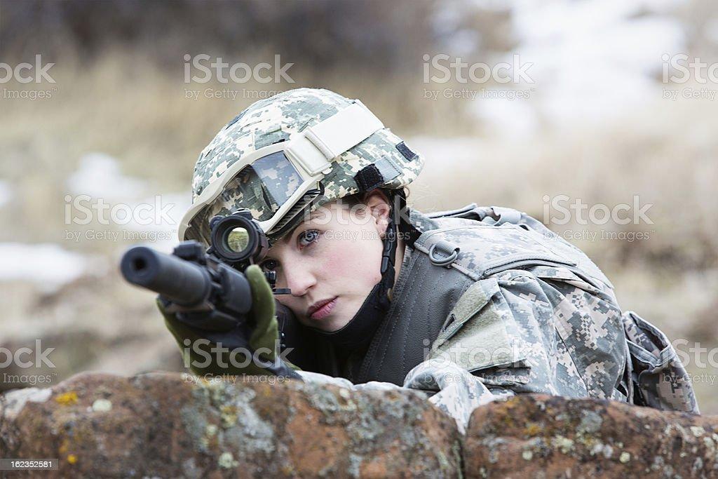 Female combat soldier stock photo