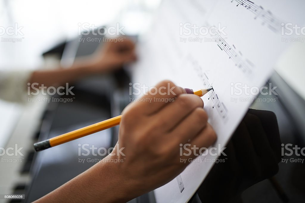 Female composer stock photo