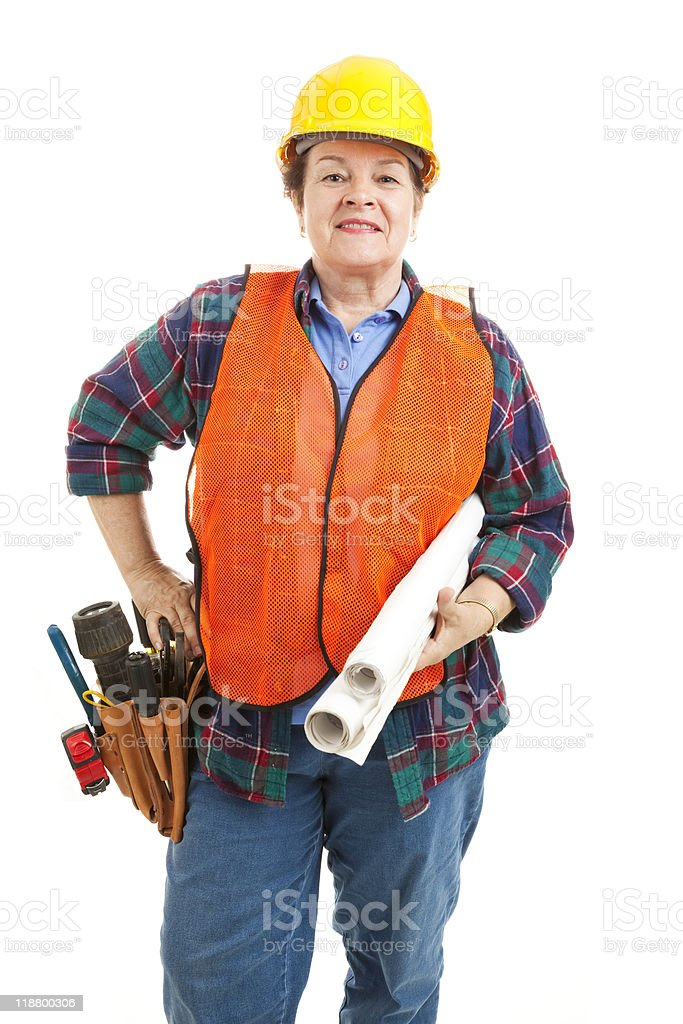 Female Construction Contractor with Blueprints stock photo