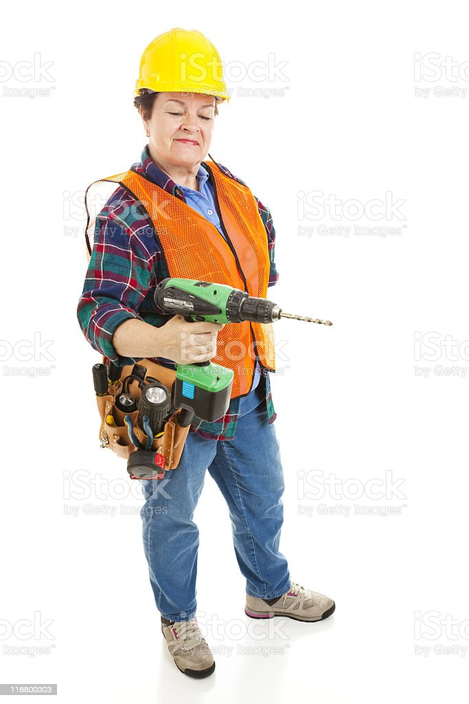 Female Construction Electrician royalty-free stock photo