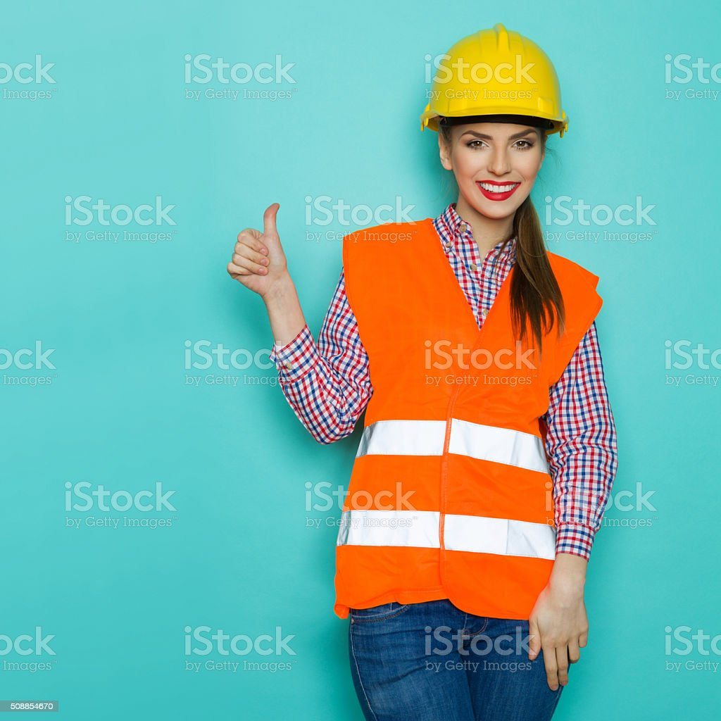 Female Construction Worker Approved stock photo