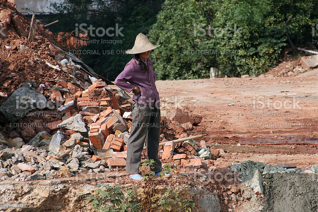 Female Construction Worker in China royalty-free stock photo