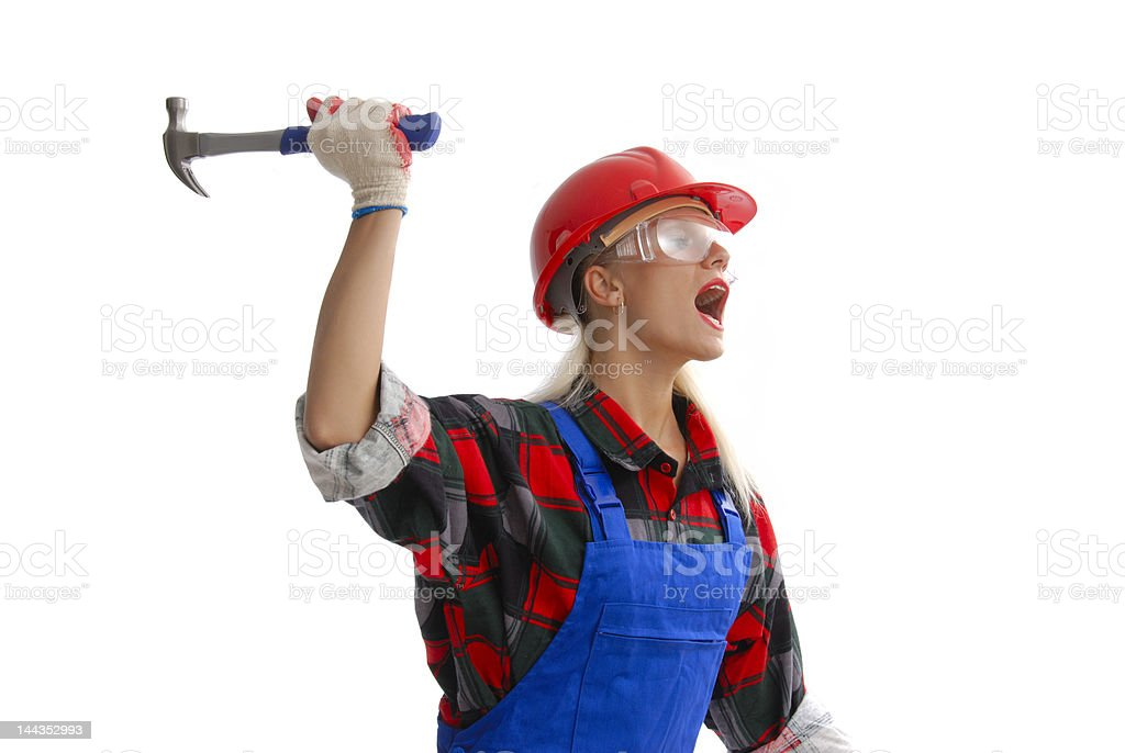 female construction worker in dungarees royalty-free stock photo