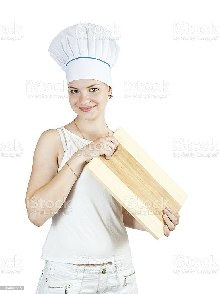 female cook in white stock photo