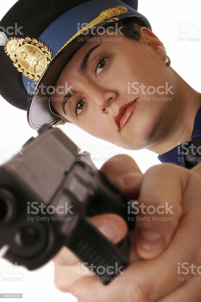 Female cop has to kill you stock photo