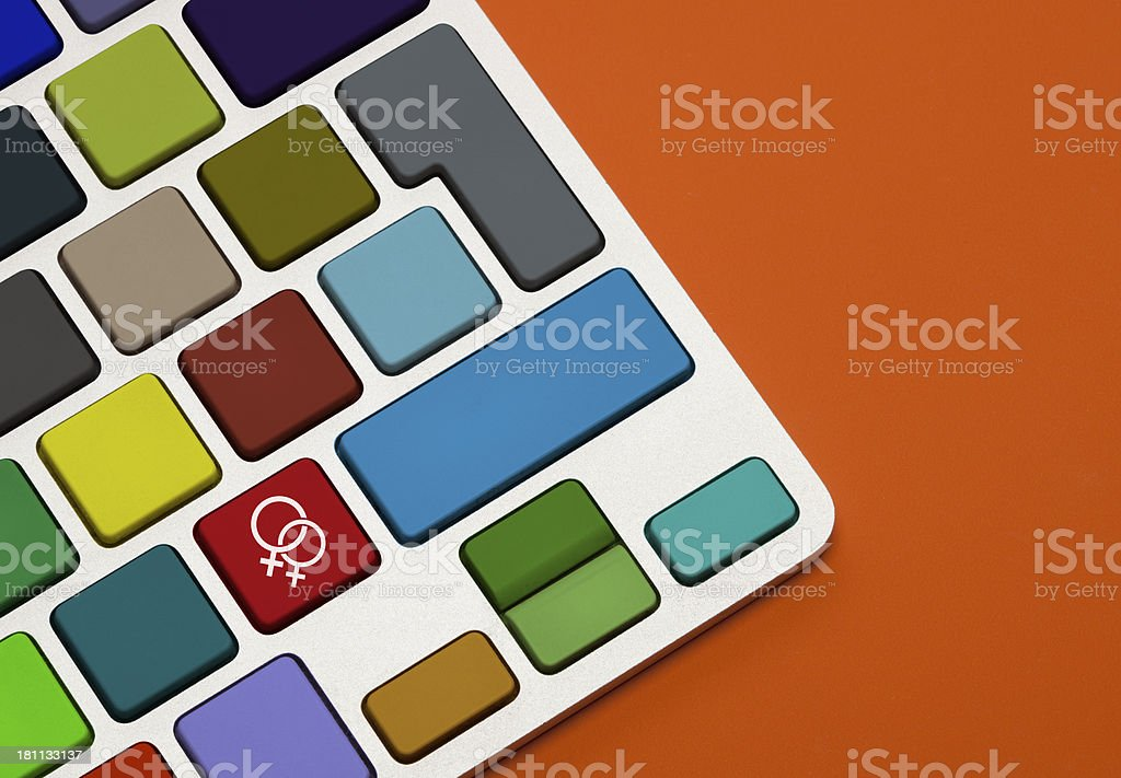Female Couple Concept on Keyboard royalty-free stock photo