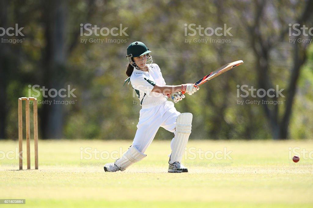 Female Cricketer Batting stock photo