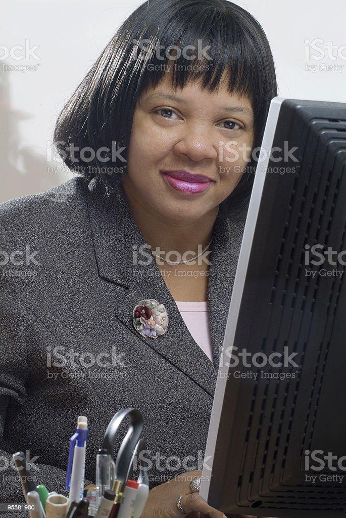 Female customer service representative posing royalty-free stock photo