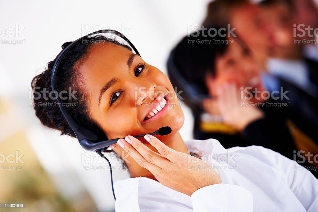 Female customer service representative smiling royalty-free stock photo