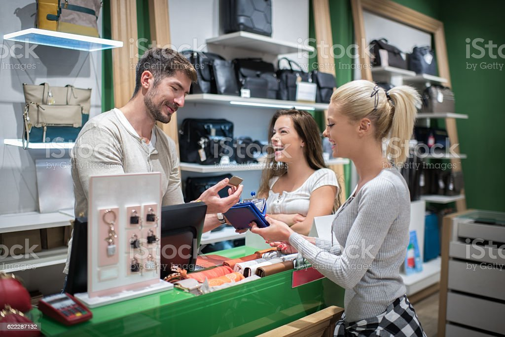 Female customers buying gifts stock photo